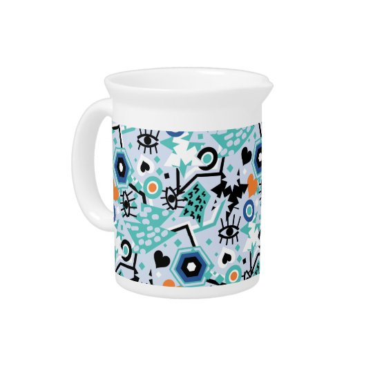 Eye heart pop art cool bright blue pattern pitcher