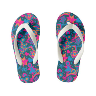 Eye heart pop art cool bright pink  pattern kid's flip flops