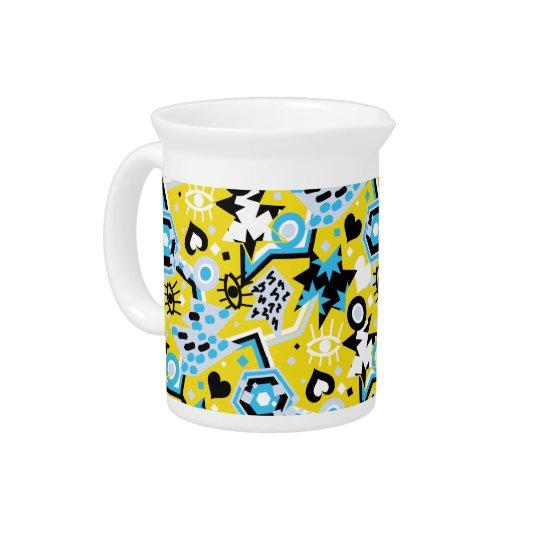 Eye heart pop art cool bright yellow pattern pitcher