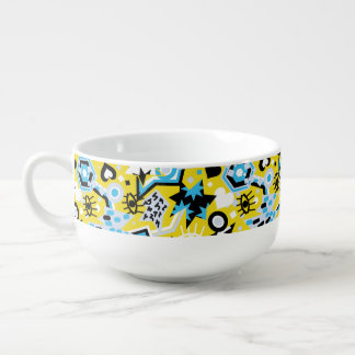 Eye heart pop art cool bright yellow pattern soup bowl with handle