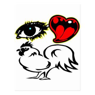 Eye Heart Rooster Postcard