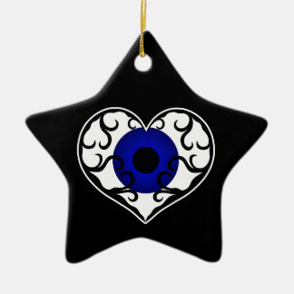 Eye heart star christmas ornament