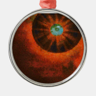 Eye in space painting Silver-Colored round decoration