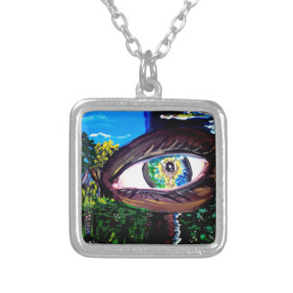 Eye In The Middle of the Forest Square Pendant Necklace