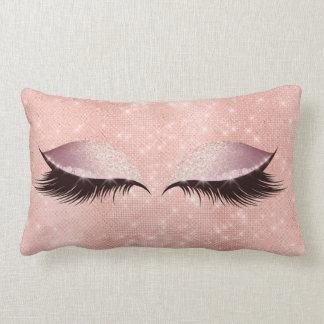 Eye Lashes Glitter Black Glam MakeUp Blush Peach Lumbar Pillow