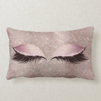 Eye Lashes Glitter Black Glam MakeUp Blush Sequin Lumbar Cushion