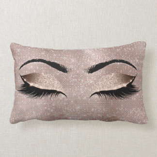 Eye Lashes Glitter Black Glam MakeUp Rose Sequin Lumbar Cushion