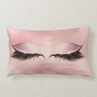 Eye Lashes Glitter Glam MakeUp Blush Stokes Glam Lumbar Cushion