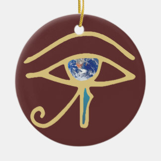 Eye Of Earth gold Christmas Ornament