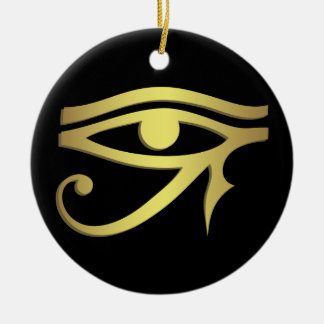 Eye of horus Egyptian symbol black Round Ceramic Decoration