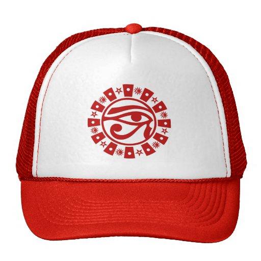 Eye of Horus Sun, Moon and Stars Cap [Red-White] Hat