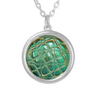 Eye of lizard silver plated necklace