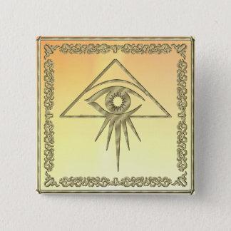 Eye of Providence Goldtone 15 Cm Square Badge