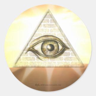 Eye of Providence Sunburst Classic Round Sticker