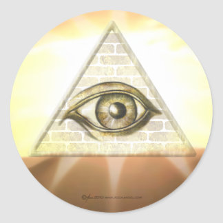 Eye of Providence Sunburst Round Stickers