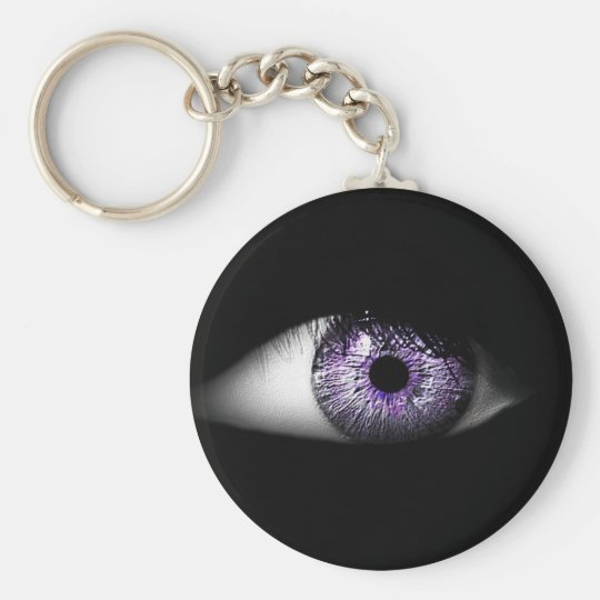 Eye of Purple Cute Cool Eyeball Design Basic Round Button Key Ring