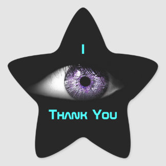 Eye of Purple Cute Cool Eyeball Design in Blue Star Stickers