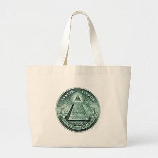 Eye On The Dollar Illuminati Pyramid Jumbo Tote Bag