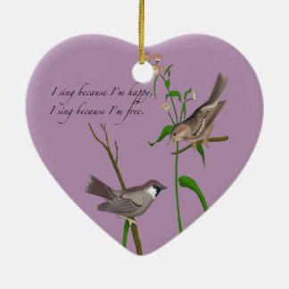 Eye on the Sparrow Ceramic Heart Decoration