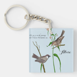 Eye on the Sparrow Double-Sided Square Acrylic Key Ring