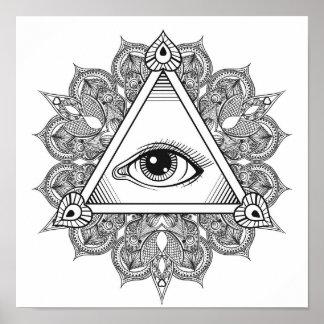 Eye Pyramid Symbol Doodle 2 Poster