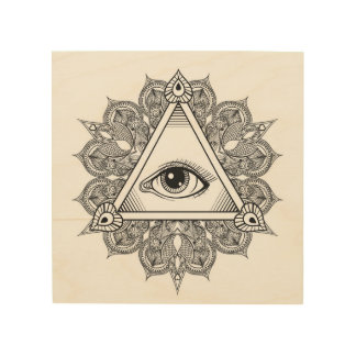 Eye Pyramid Symbol Doodle 5 Wood Print