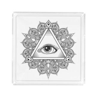 Eye Pyramid Symbol Doodle Acrylic Tray