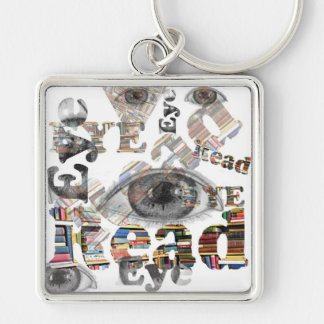 Eye Read Key Ring Silver-Colored Square Key Ring