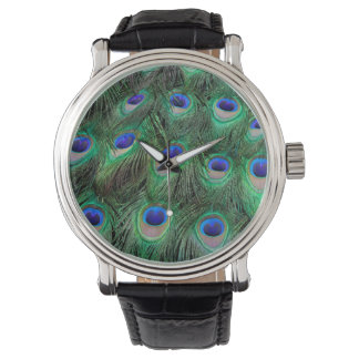 Eye-spots on Male Peacock feather Wristwatches