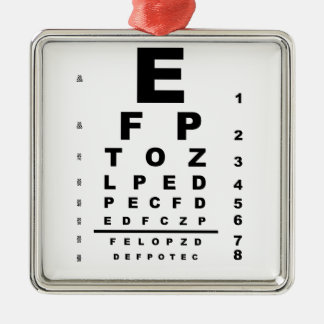 Eye Test Chart Silver-Colored Square Decoration