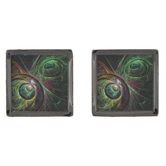 Eye to Eye Abstract Art Gunmetal Finish Cuff Links