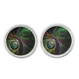 Eye to Eye Abstract Art Silver Plated Cuff Links