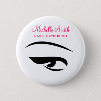 Eye with eyeliner lash extension branding 6 cm round badge
