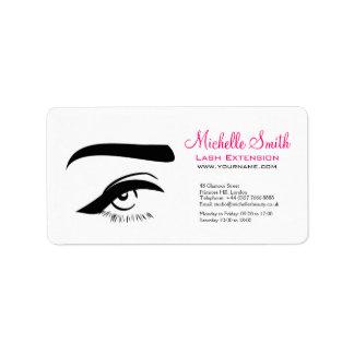 Eye with eyeliner lash extension branding address label