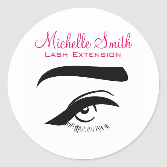 Eye with eyeliner lash extension branding classic round