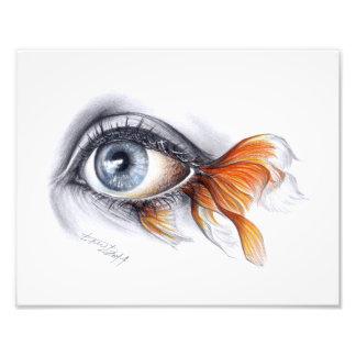 Eye with fish tail Surreal art Photo print
