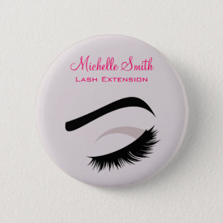 Eye with long lashes lash extension branding 6 cm round badge