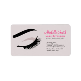 Eye with long lashes lash extension branding address label