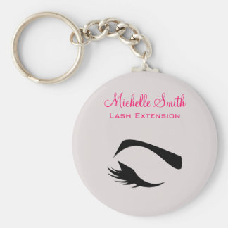 Eye with long lashes lash extension branding basic round button key ring