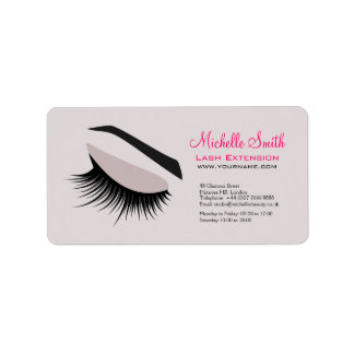 Eye with long lashes lash extension branding label