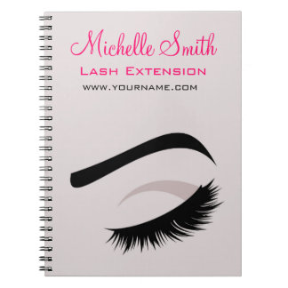 Eye with long lashes lash extension branding notebooks