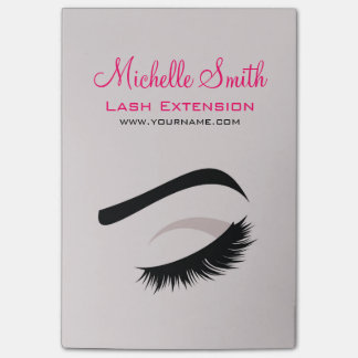Eye with long lashes lash extension branding post-it notes