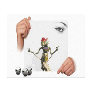 eye with puppet and hands canvas print