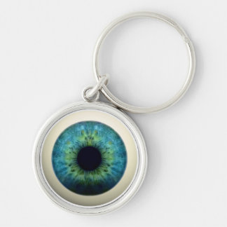 EYEBALL! (A great Halloween novelty item!) ~ Silver-Colored Round Key Ring