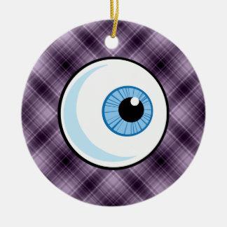 Eyeball; Purple Christmas Ornament