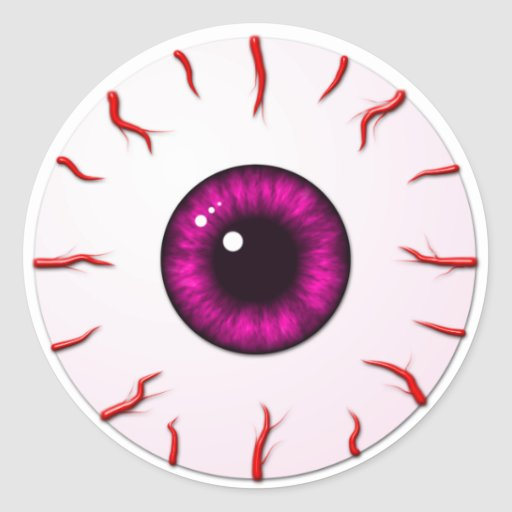 Eyeball with Pink Iris and Red Veins Stickers