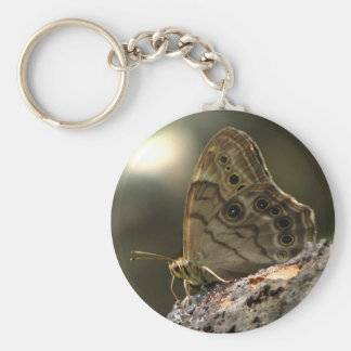 Eyed Brown Butterfly Basic Round Button Key Ring