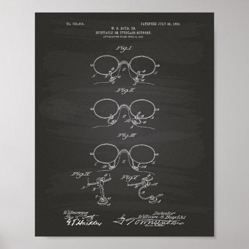 Eyeglass Support 1904 Patent Art Chalkboard Poster
