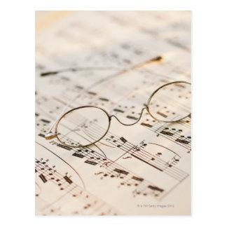 Eyeglasses on Sheet Music Postcard
