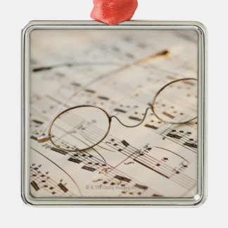 Eyeglasses on Sheet Music Silver-Colored Square Decoration